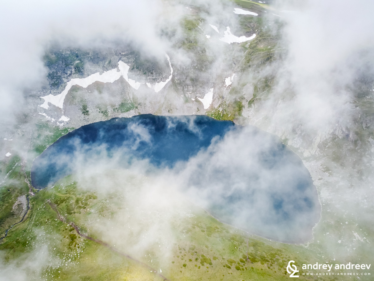 Babreka lake (The Kidney lake) from above, just before the fog took over the view - Seven Rila Lakes Bulgaria