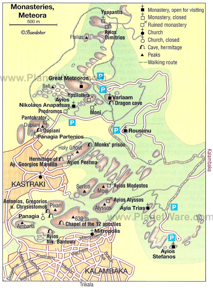 A map of monasteries of Meteora
