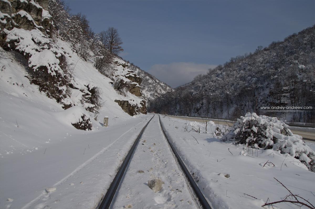 The narrow gauge rails near Velingrad, Bulgaria - Rhodope mountains