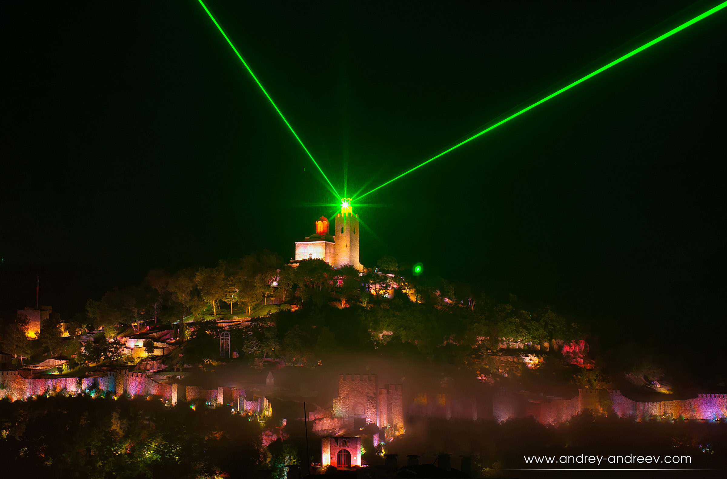 A moment form the Sound and Light show on Tsarevets, Veliko Tarnovo, Bulgaria