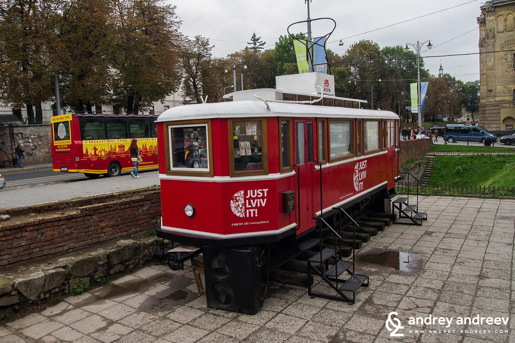 Old tram in Lviv Ukraine