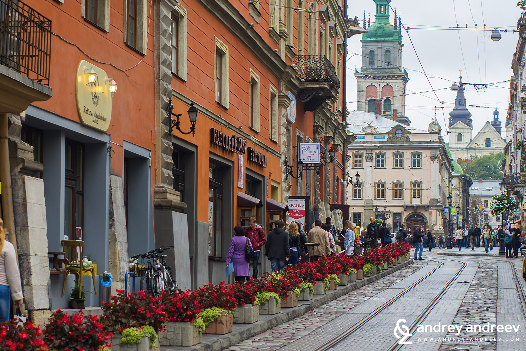Лвов, Украйна - трамвайни релси в центъра