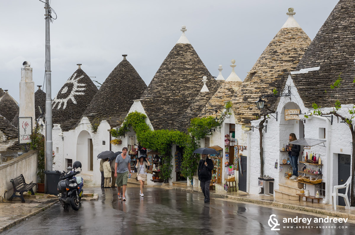 Rainy town of Alberobello