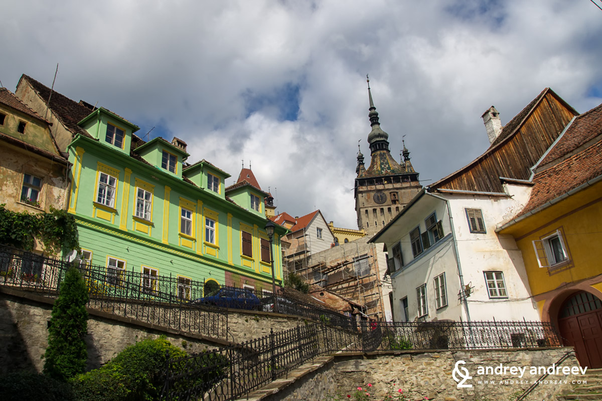 The clock tower of Sighisoara in the background