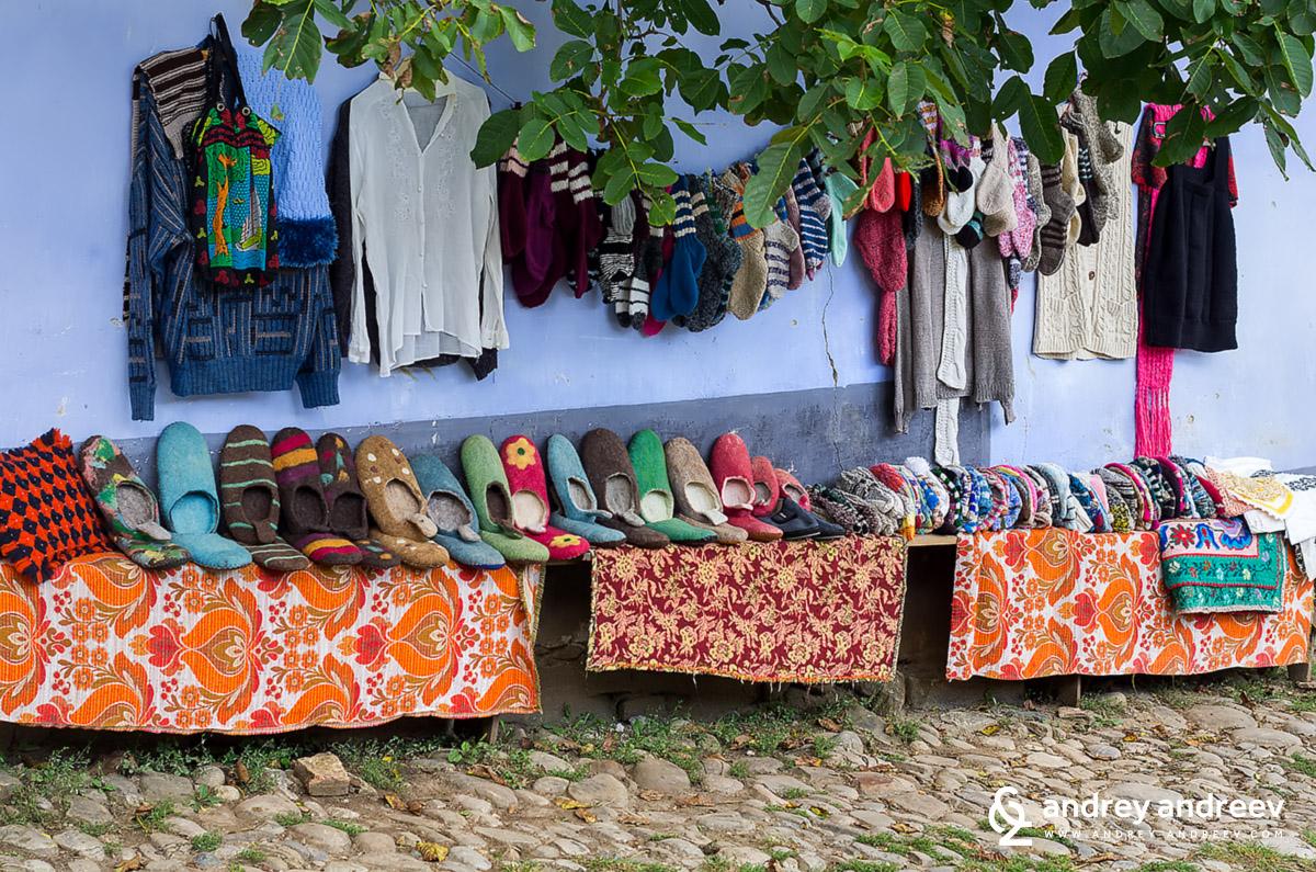 Local women selling socks in Viscri Romania