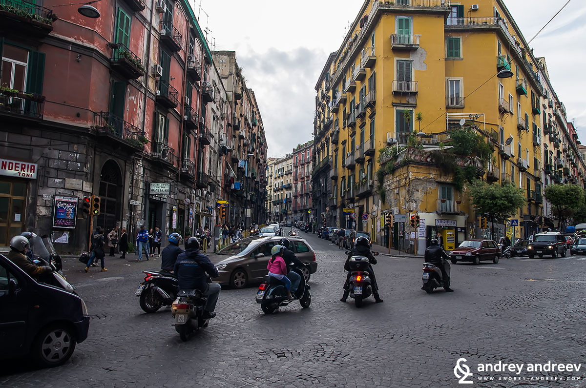 Motorbikes are the most popular means of transportation in Naples