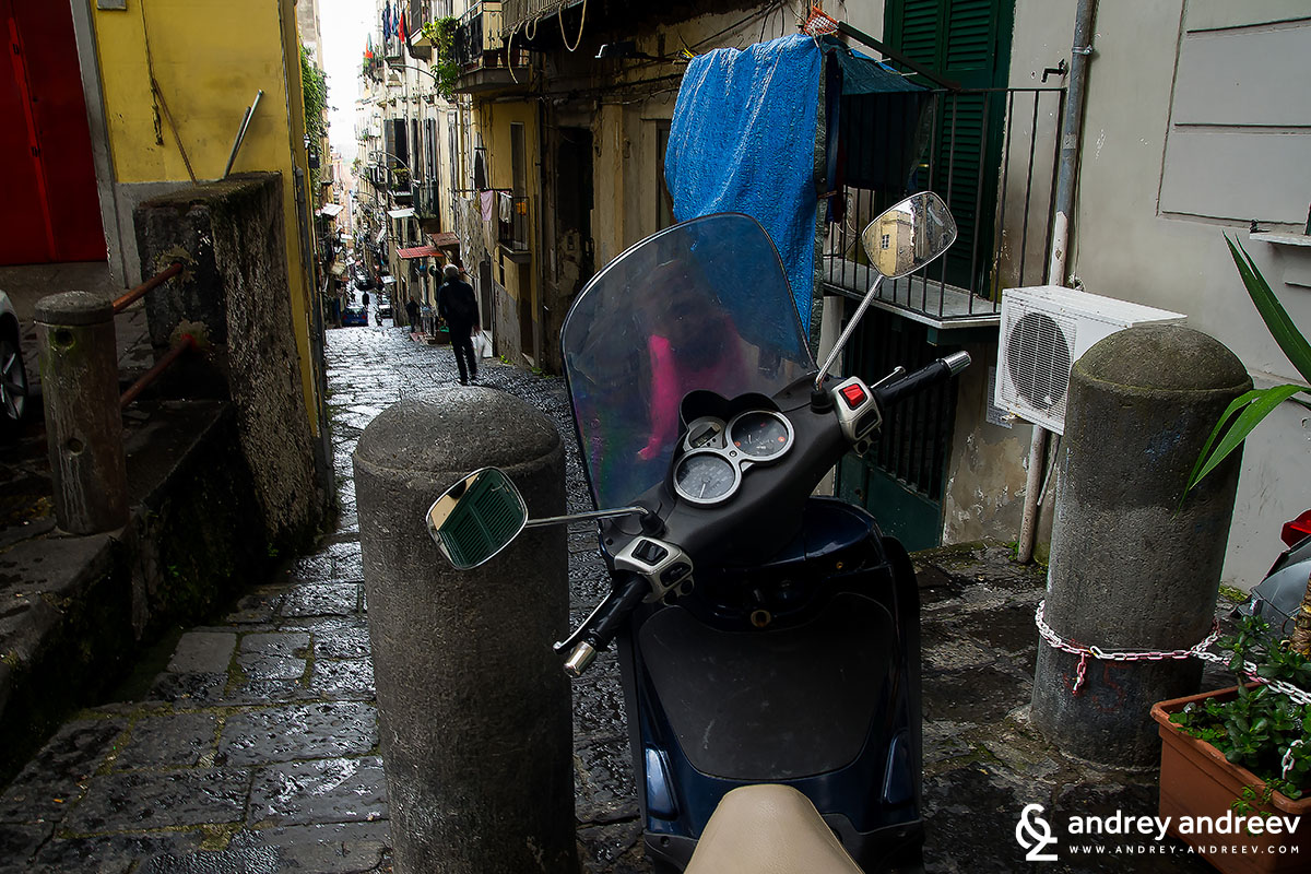 Scooters are very popular view in Naples
