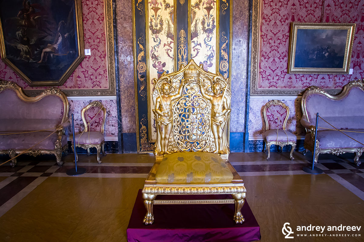 The throne of the queen, Naples, Italy - Palazzo Reale