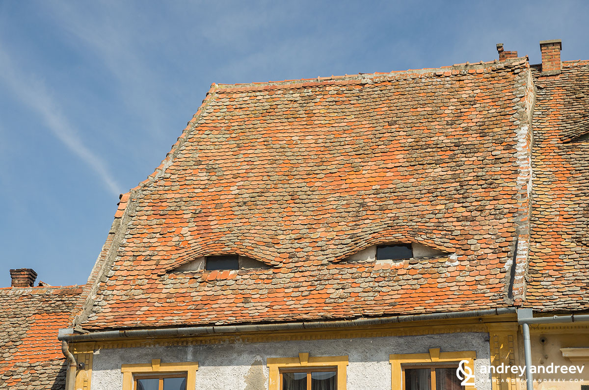 The houses with eyes at The lower town of Sibiu, Romania