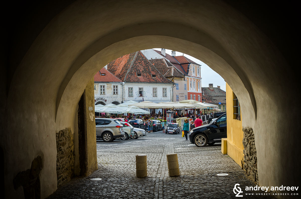 Passage to the small square in Sibiu, Romania