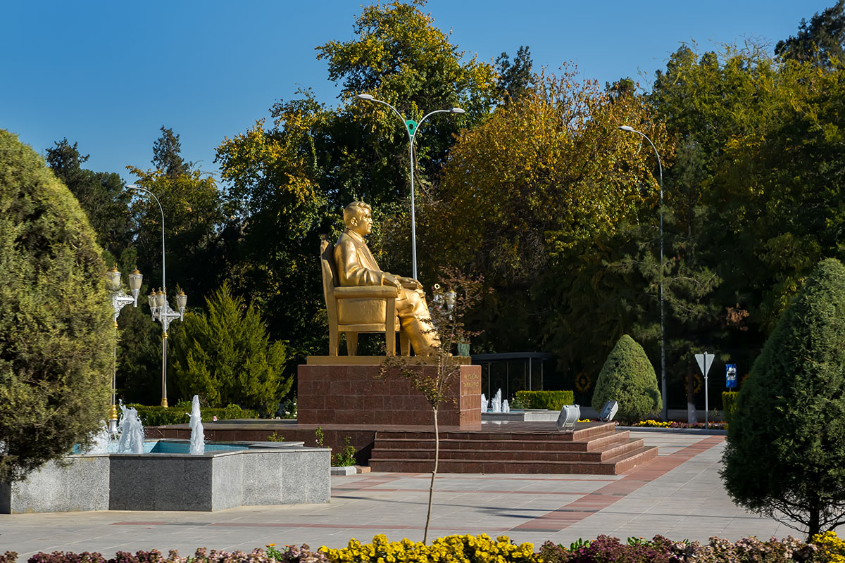 One of many golden statues of Saparmurat Niyazov, former President for Life of Turkmenistan