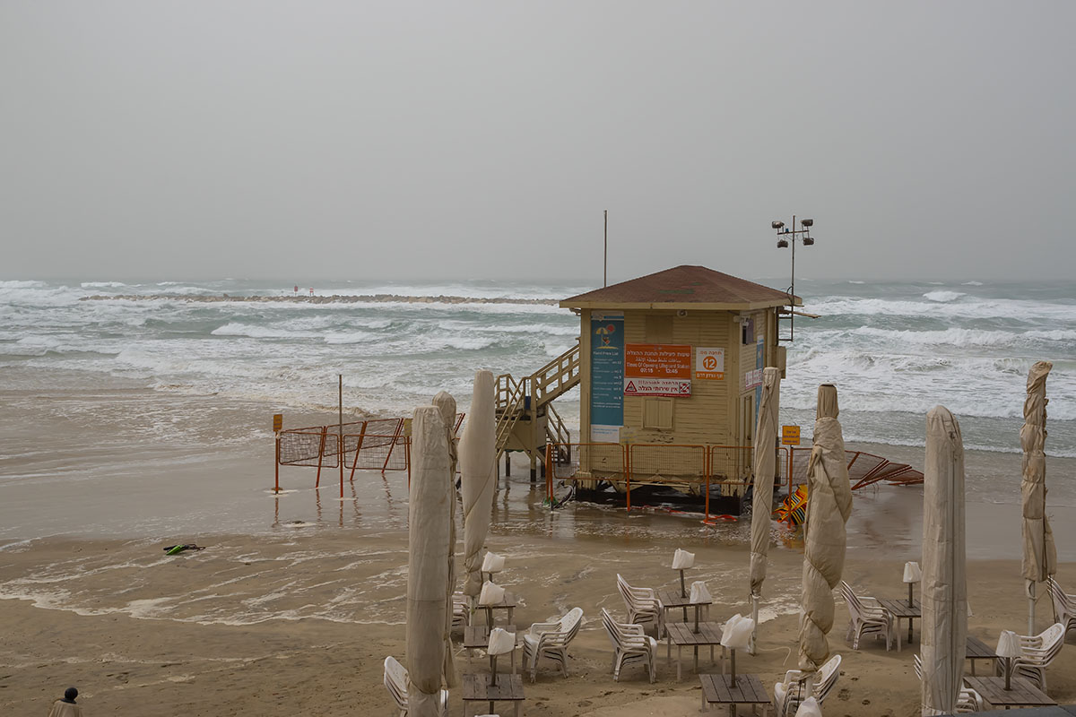 The storm at the beach of Tel Aviv, Israel