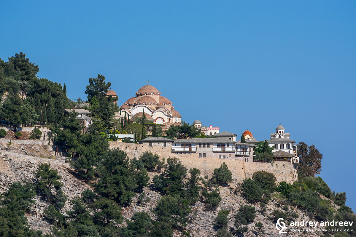 Archangel Michael monastery has amazing location on the edge of the island of Thassos