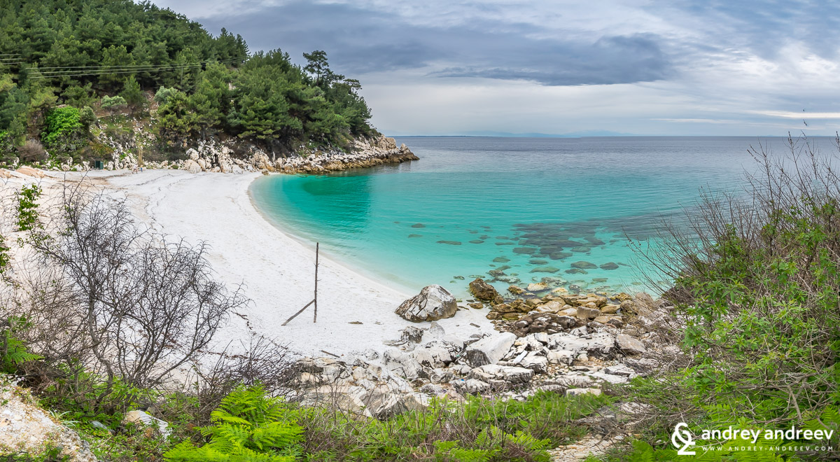 Beautiful marble beach on Thassos
