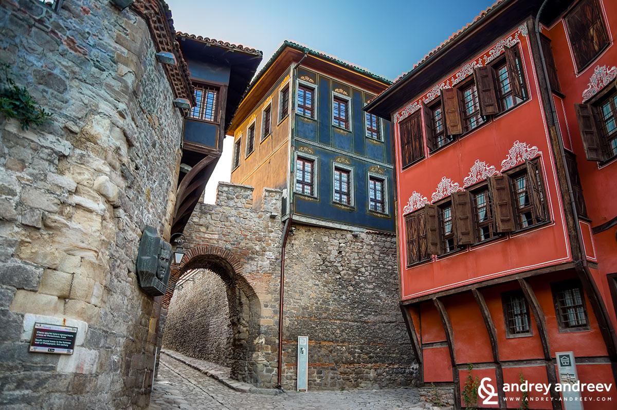 Хисар Капия, къщата на Димитър Георгиади и Куюмджиевата къща , Старият град на Пловдив The old town of Plovdiv, Bulgaria
