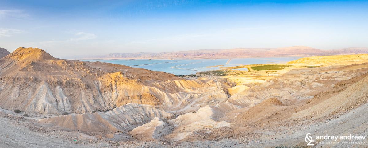 Южната част на Мъртво море по залез