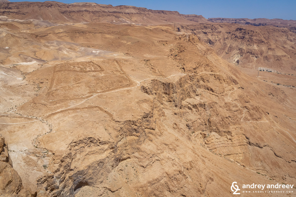 Outlines of a Roman camp near Masada fortress in Israel
