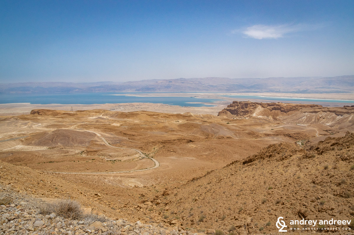 The Judean desert, the Dead Sea and Masada fortress (to the right)