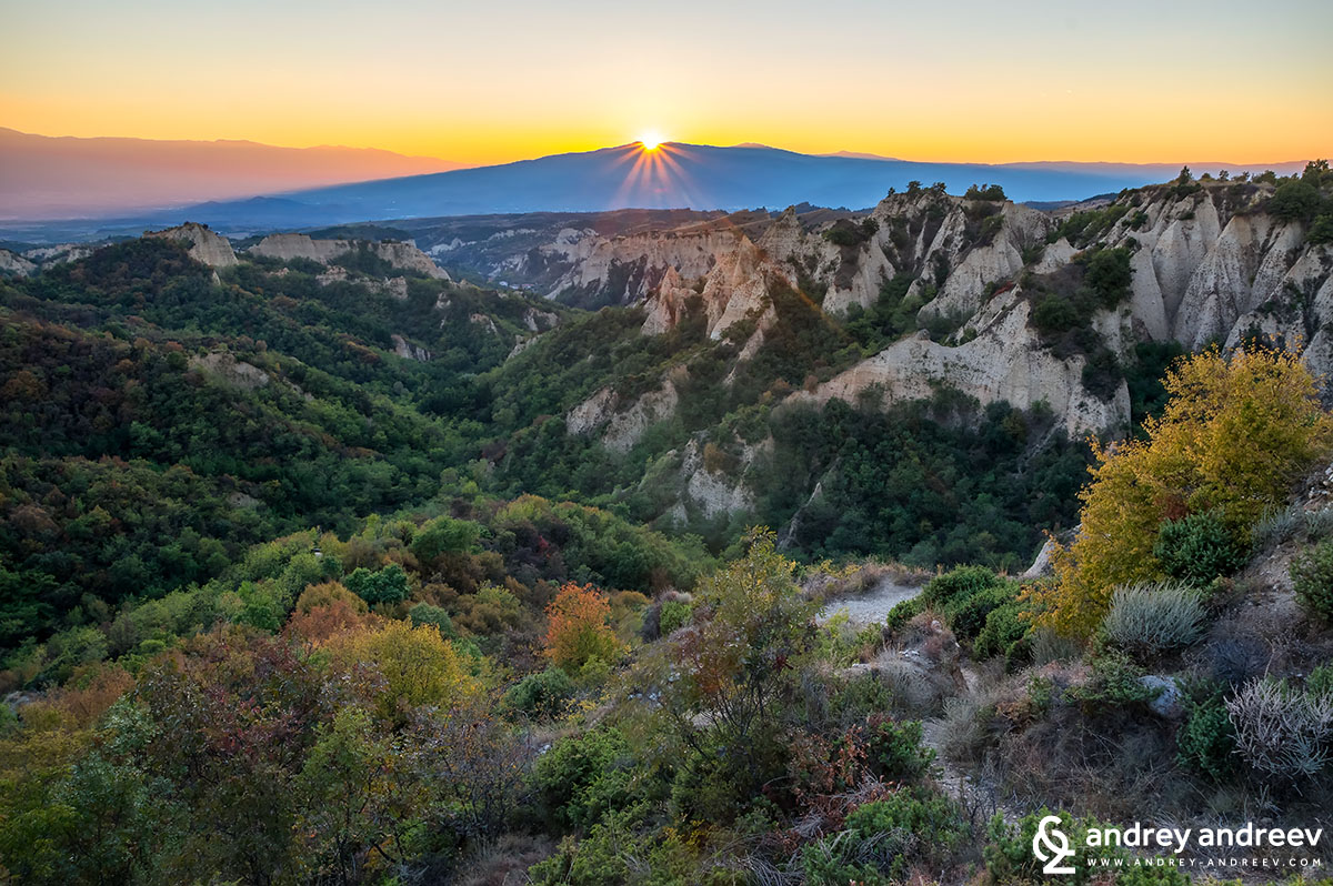 Sunset over Melnik pyramids