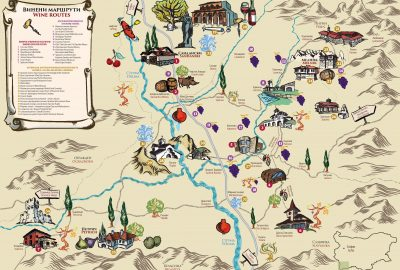 Карта на Винените маршрути около Мелник