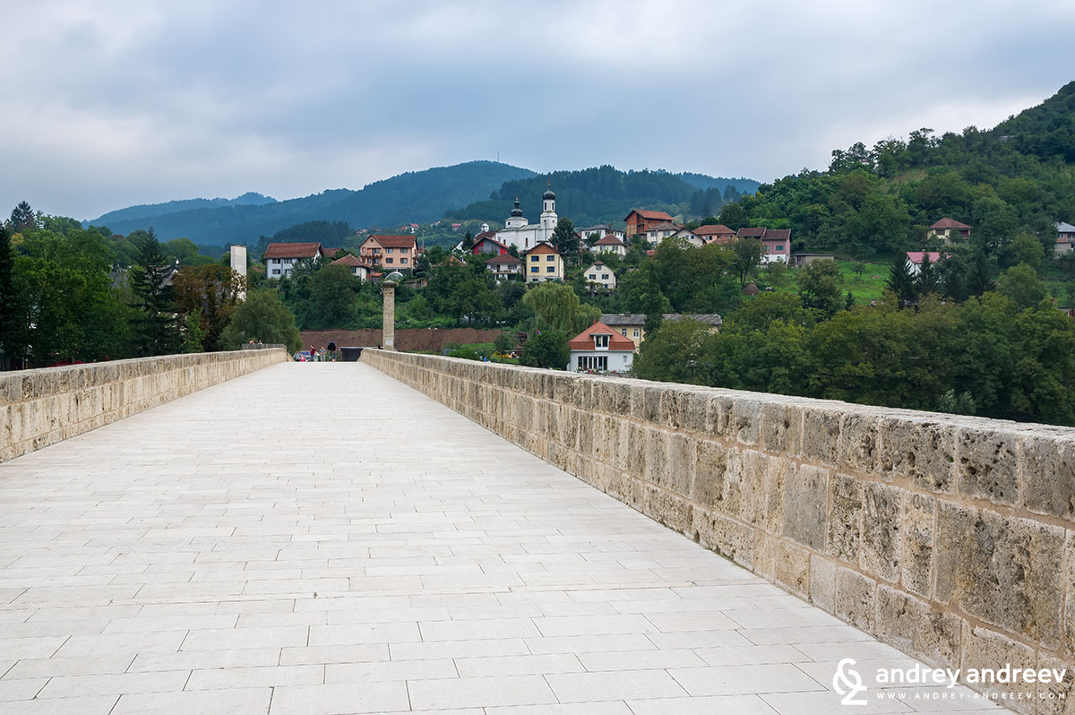 Walking along the Bridge on Drina, Visegrad, Bosnia and Herzegovina