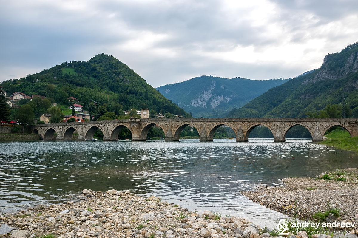 The bridge on the Drina Mehmed Pasha Sokolovic bridge in Visegrad, Bosnia and Herzegovina