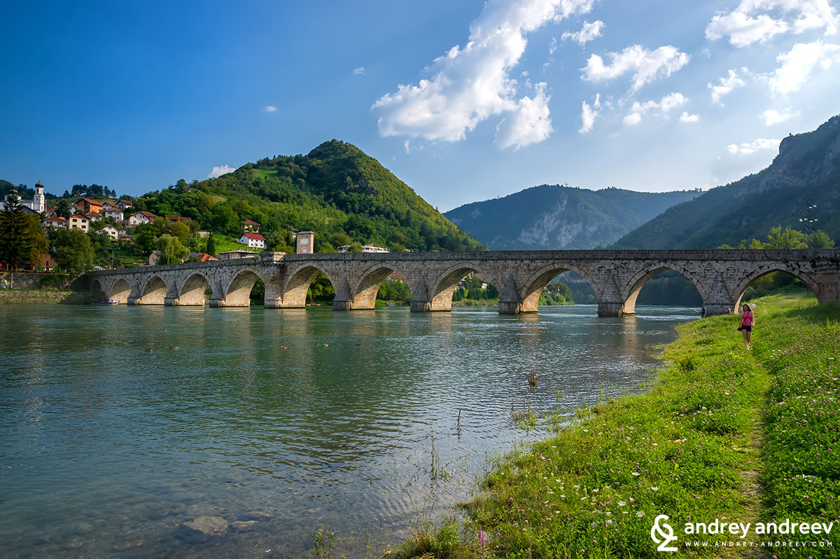 The marvellus Bridge on the Drina in Visegrad, Bosnia and Herzegovina, again