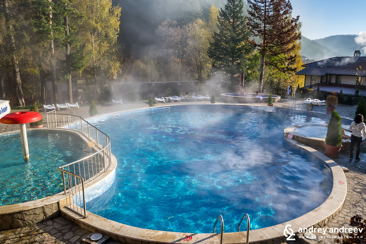 The outdoor pools with different temperature