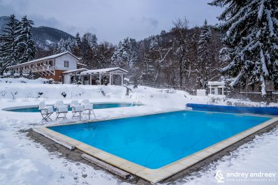The pool with hot mineral water