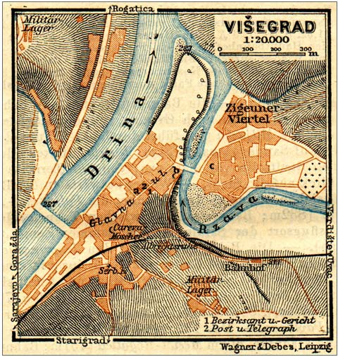 Old map of Visegrad, Bosnia and Herzegovina