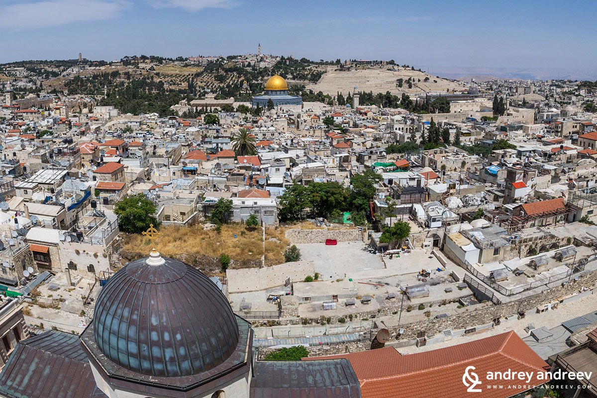 Temple Mount as seen from the Church of the Redeemer. Our pilgrimage to Jerusalem