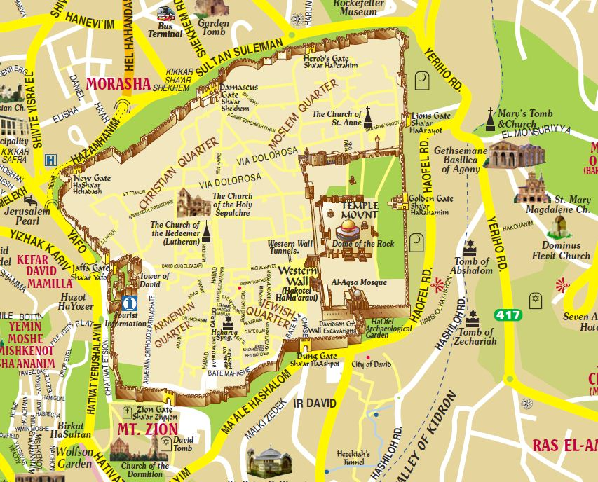 Tourist map of Jerusalem