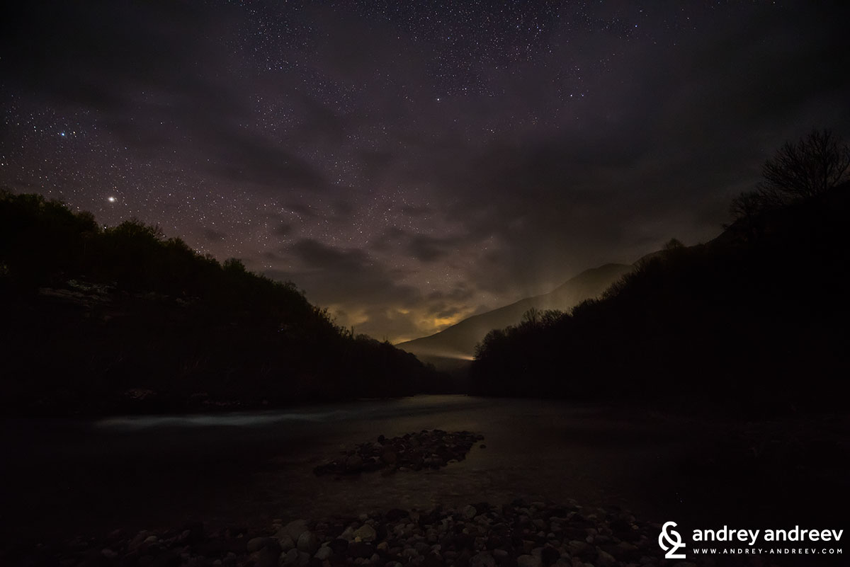 Drina River and lights of Foca