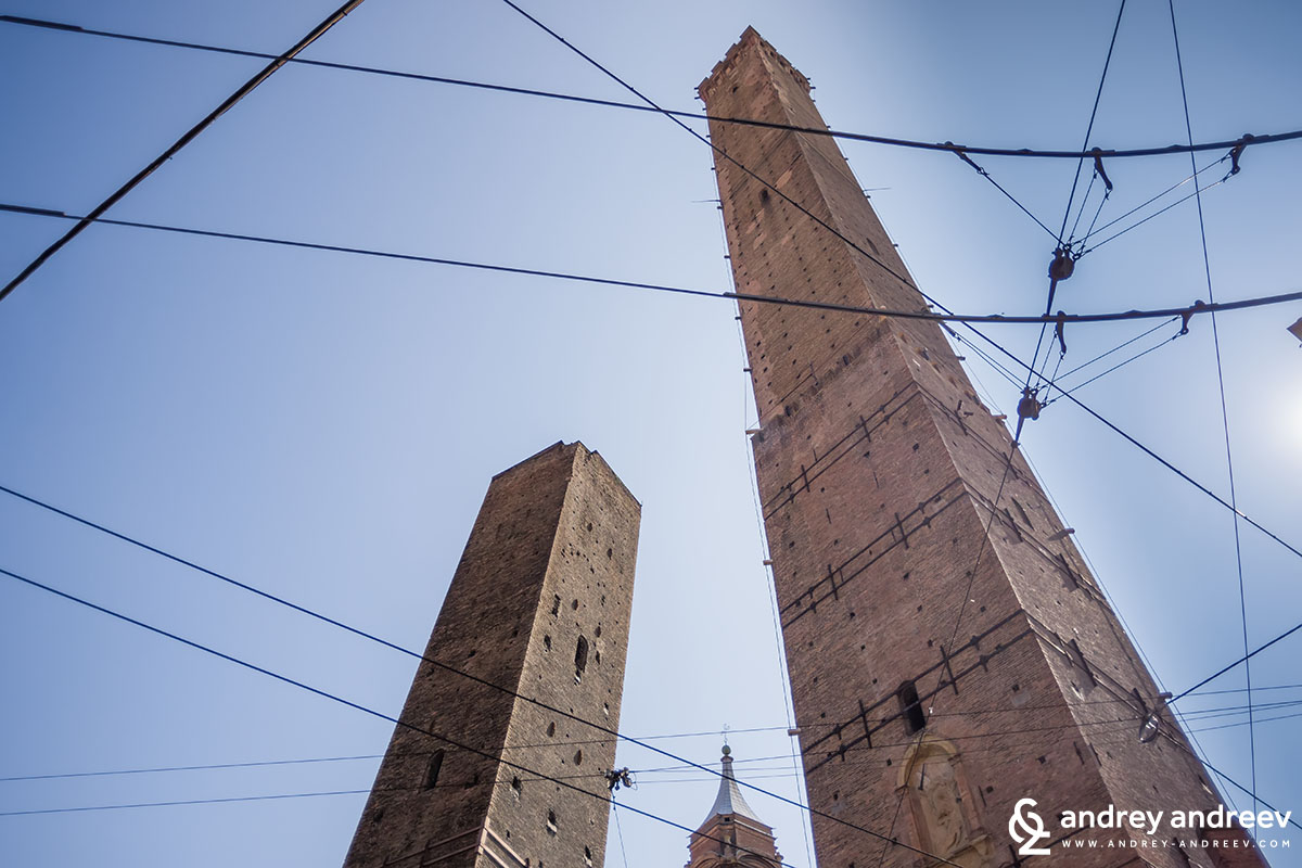 The two towers Asinelli and Garisenda of Bologna