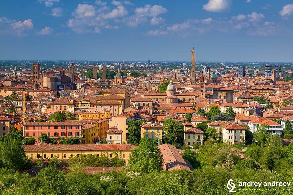 The skyline of Bologna, Italy