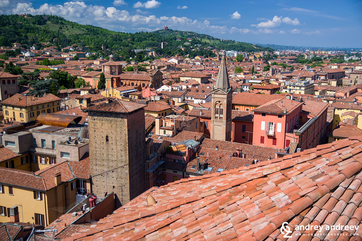 The view from the panoramic terrace at San Petronio church, Bologna, Italy