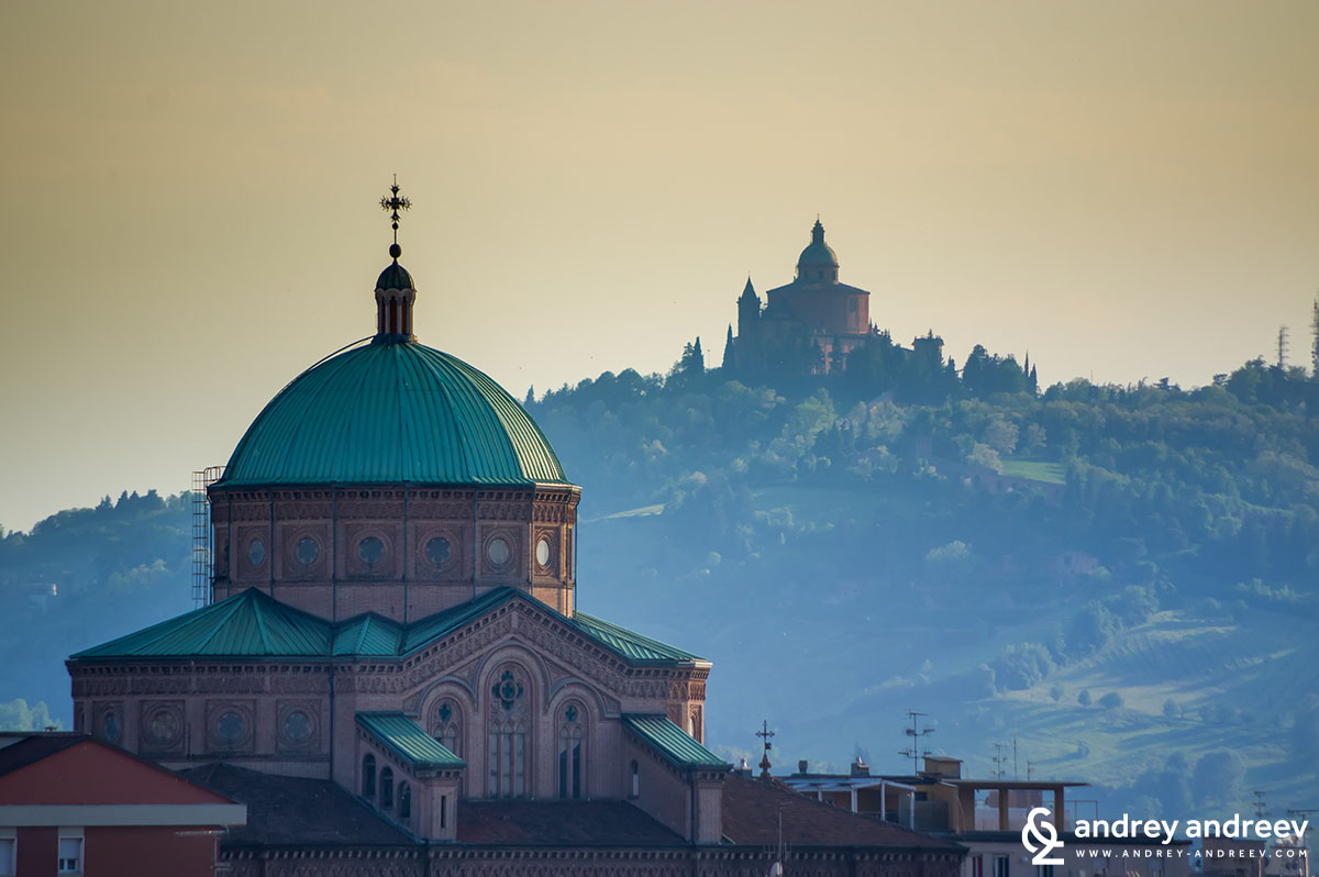 The sanctuary of the Madonna of San Luca near Bologna - in the back