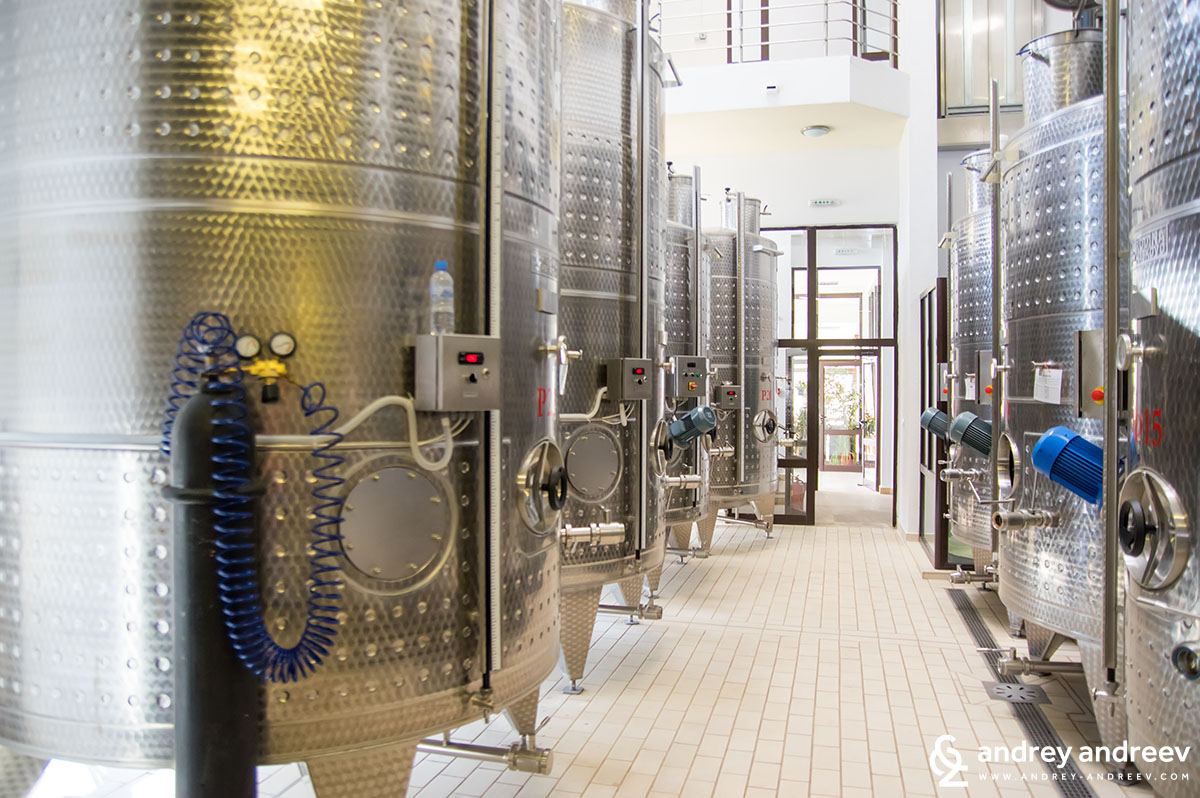 Wine fermentation tanks at Villa Melnik winery, Bulgaria