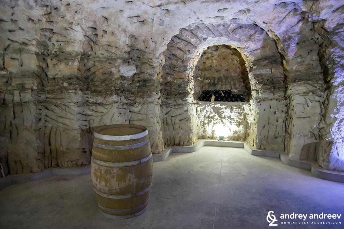 Underground wine tasting room