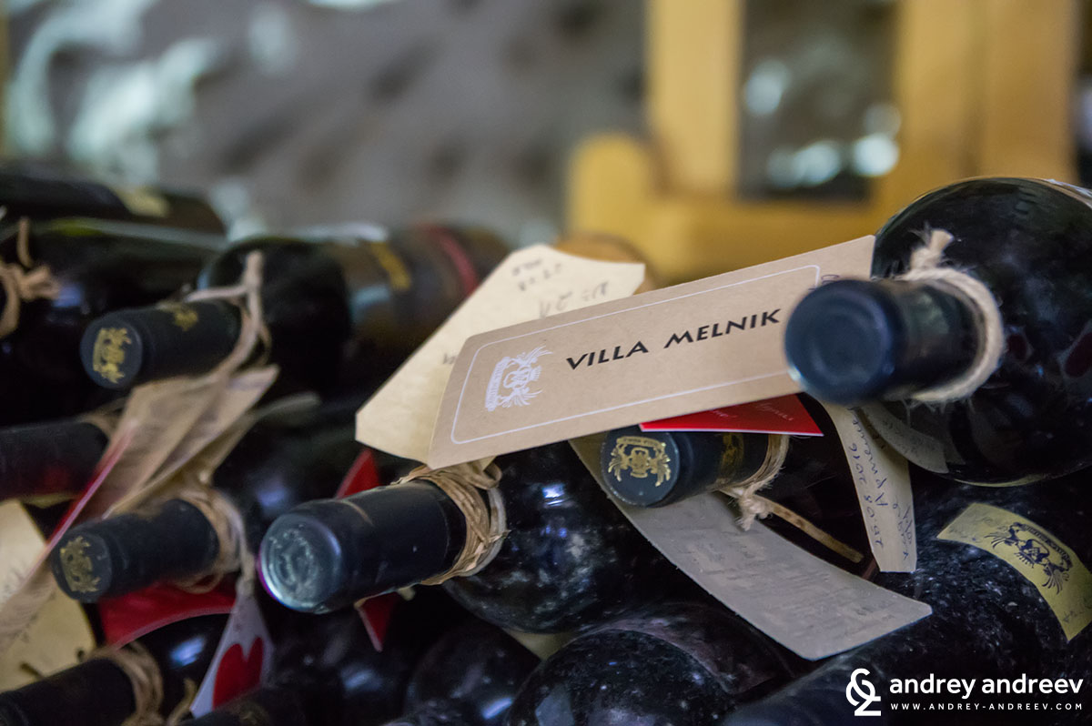 Wine bottles in the sandy tunnels