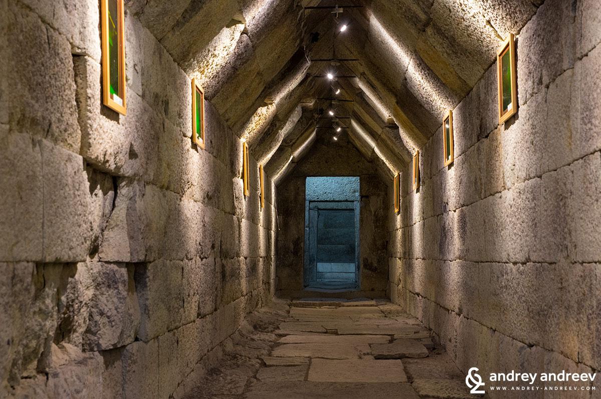 The corridor of Mezek Thracian tomb, Bulgaria