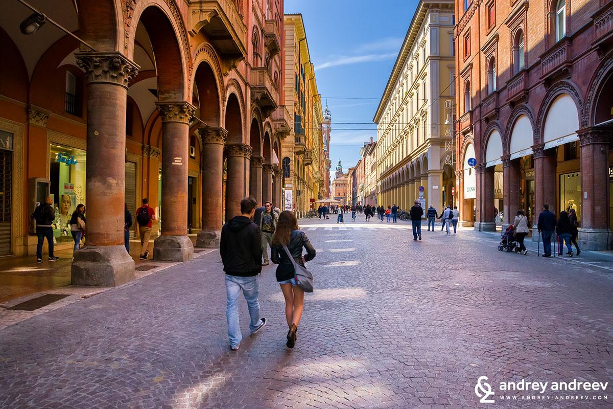Via Indipendenza - the main street of Bologna, Italy