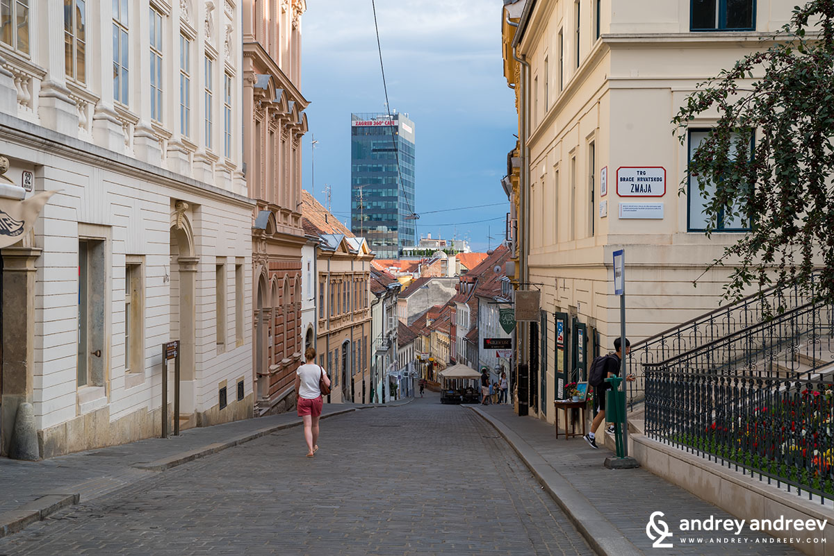 Streets of Zagreb. Another place to enjoy a great panorama to the city is the cafe on top of the skyscraper at the city centre