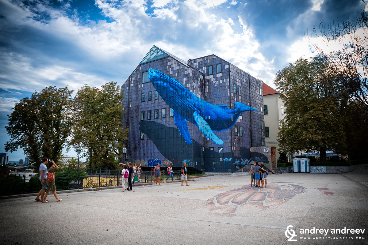 Gradec cinema and its terrace with a 3d painting, Zagreb