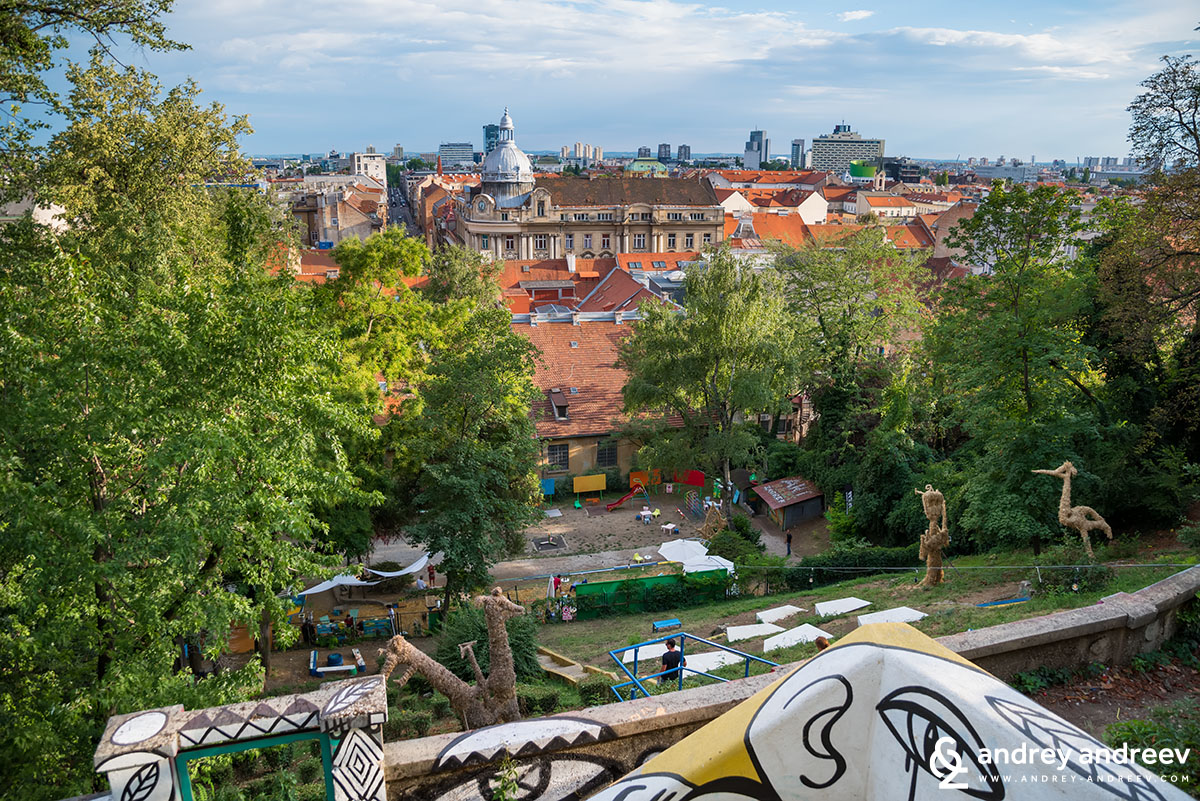 View from Strossmayer Promenade to the Art Park and Zagreb skyline