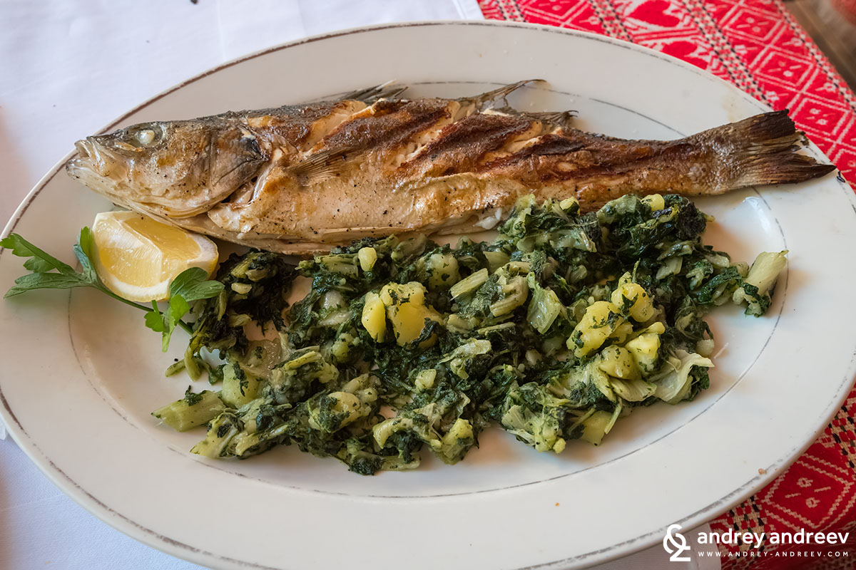 Sea Bass with potatoes and swiss chard