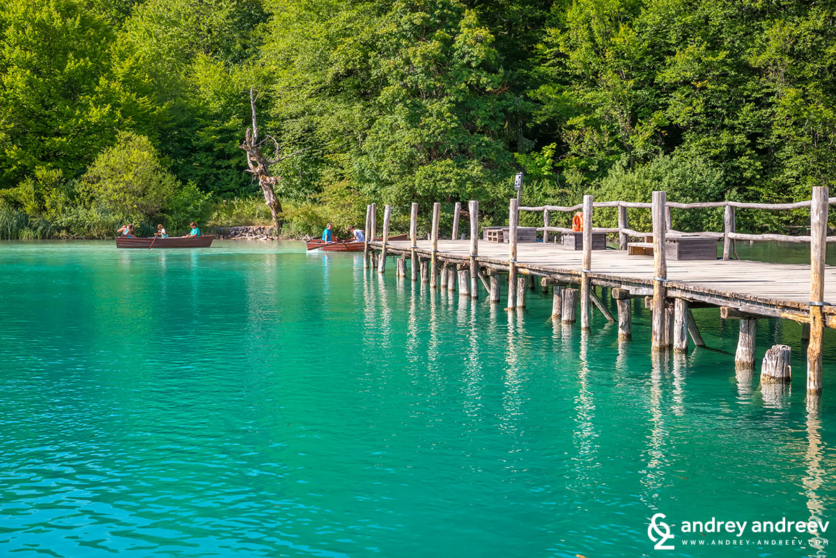 Bridge above Plitvice Lakes. You can also hire a boat there
