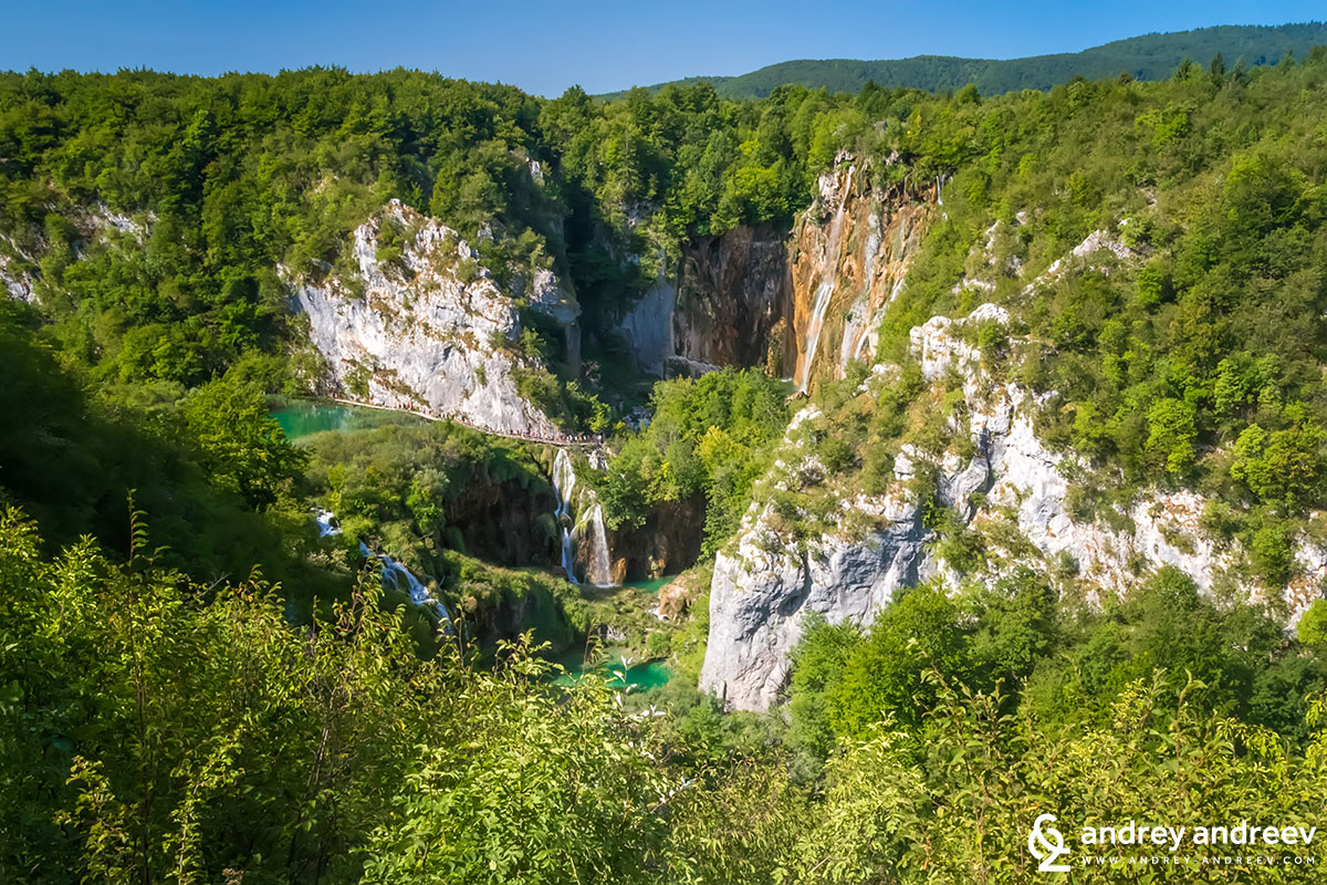 In the summer the waterfalls at Plitvice Lakes are not so full