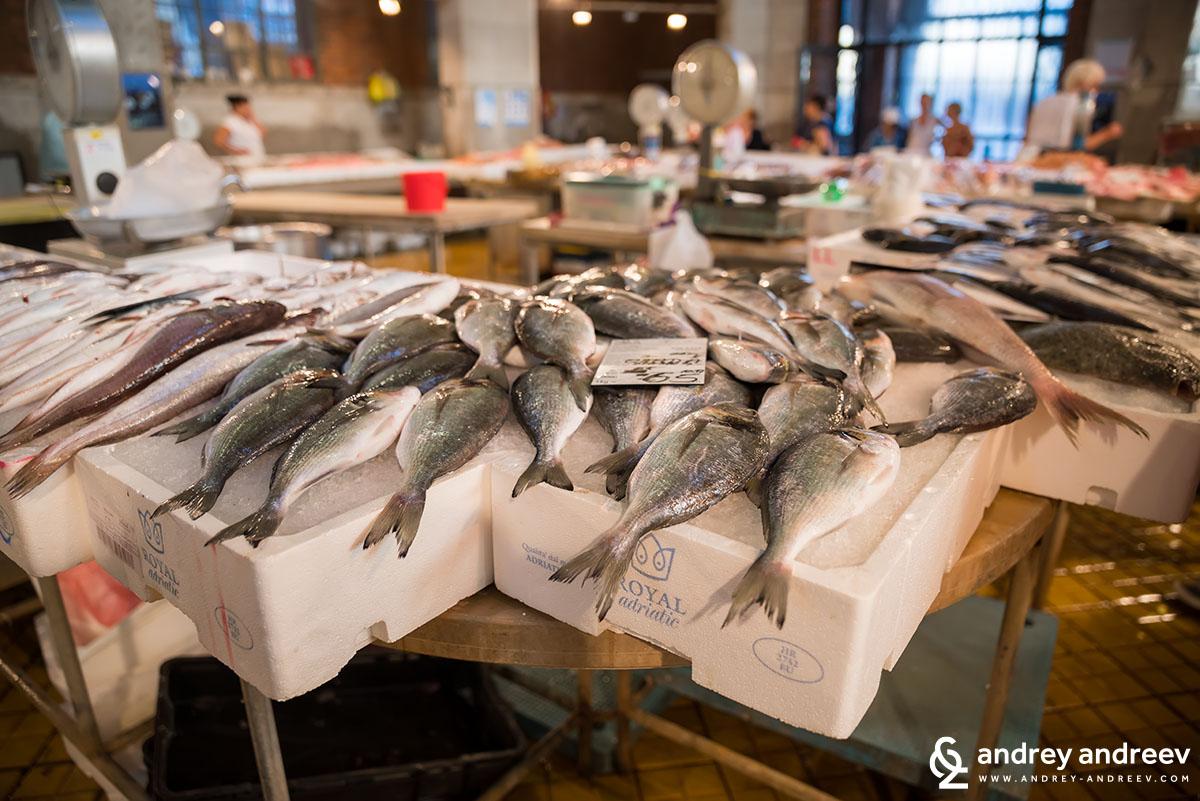 Пресният улов изложен в Рибния пазар на Риека