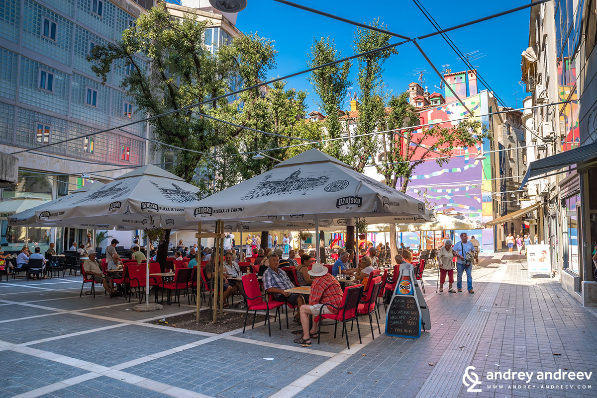 Square with cafes in Rijeka